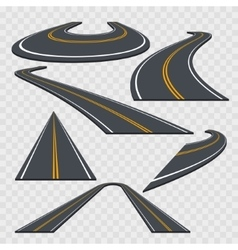 Different Perspective Curved Road Set vector