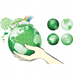 earth globe in hands protected vector image vector image