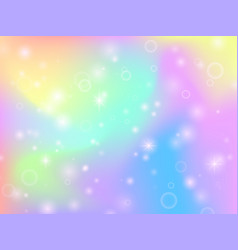 Fairy unicorn rainbow background with magic vector