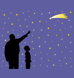 Father is showing falling star to his amazed kid vector