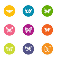 Flap of butterfly icons set flat style vector