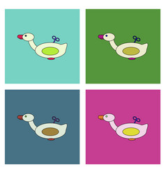Flat icon design collection kids duck automatic vector