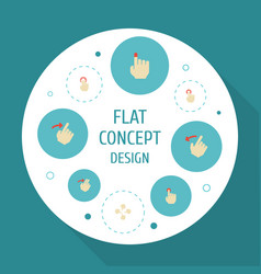 Flat icons rearward right double click and other vector