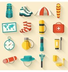 Flat sticker colorful tourist equipment vector