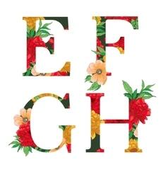 Flower colorful alphabet vector image