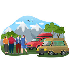 friends come trucks to mountains hikers vector image