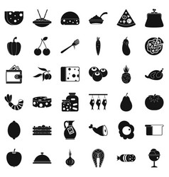Gastronomy icons set simple style vector