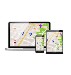 gps map mobile app background vector image