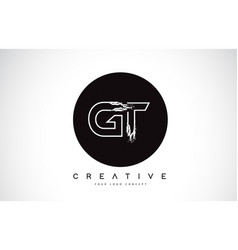 Gt modern leter logo design with black and white vector