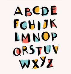 hand drawn letters stylish alphabet trendy abc vector image