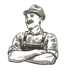 hand-drawn sketch happy farmer farming vector image