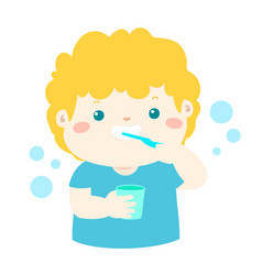 happy boy brushing teeth cartoon vector image