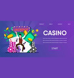 happy lucky man winner hit jackpot at casino vector image
