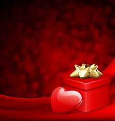 Heart red shiny gift on silk with light vector