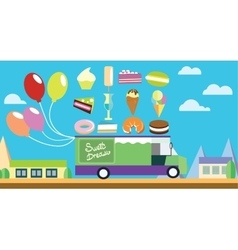 Holiday flat art wagon with ice-cream and sweets vector image