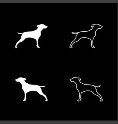 hunter dog or gundog icon set white color flat vector image