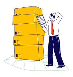 Inventory manager male character working in vector