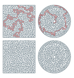 Labyrinth maze game square and circle puzzle vector