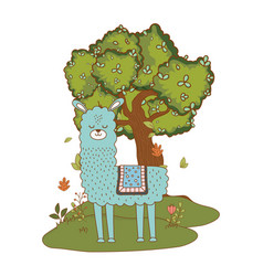 Llama cartoon design vector