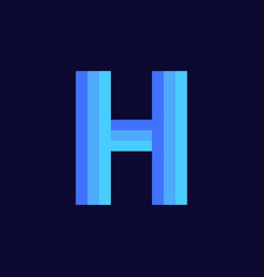 logo letter h blue glowing vector image