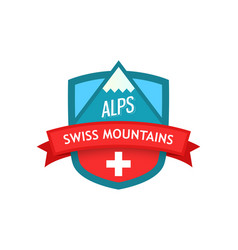 logo of swiss mountains vector image