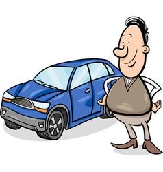 Man and car cartoon vector