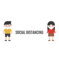Man and woman maintaining a physical distance vector