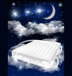 Mattress ad realistic design template vector