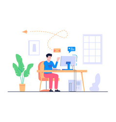 men work from home concept vector image