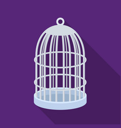 Metal cage for birdspet shop single icon in black vector