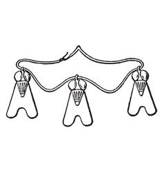 Necklace with three pendant flies vintage vector