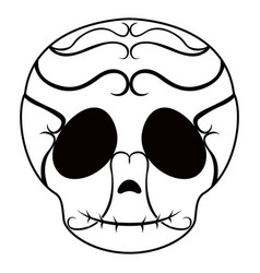 outline of a happy mexican skull cartoon vector image