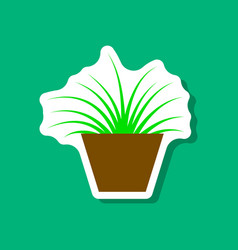 Paper sticker on stylish background flower in pot vector