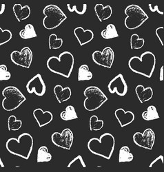 pattern with cute grunge monochrome hearts vector image