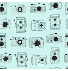 Photo cameras pattern Hand drawn vector