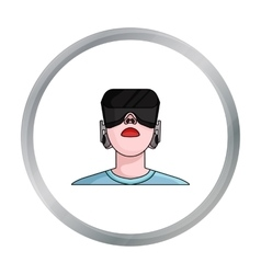 Player with virtual reality headcartoon icon in vector