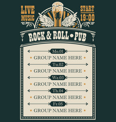 Poster for rock and roll pub with live music vector