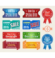 Promotion Set of retro promotion discount sale and vector image