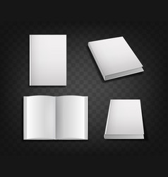 realistic detailed 3d white blank book cover vector image