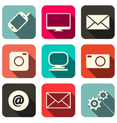 Retro Technology Internet Communication Icons Set vector image