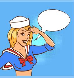 retro woman sailor with speech bubble vector image