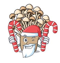 santa with candy enoki mushroom mascot cartoon vector image