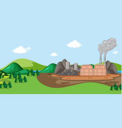 Scene with building and smoke vector