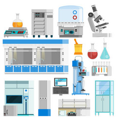 Science Flat Color Isolated Icons vector