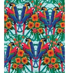 Seamless pattern with macaw parrots Hand drawn vector