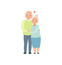 Senior man and woman embracing each other elderly vector