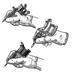 set hand with tattoo machine isolated on white vector image