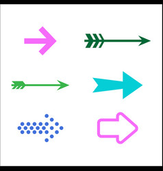set of colored arrow icons 3d vector image