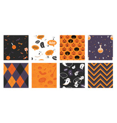 set of halloween seamless pattern set for poster vector image