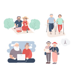 Set of happy elderly couple grandparents in vector
